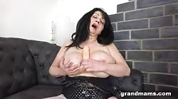 Grandmams All Alone Playing With Her Pussy Until She Moan